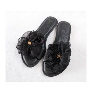 BORN Black Slides Tulle Bow Sandals 6M